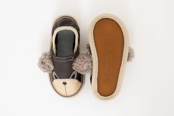 Kindergarten toddler slippers rolly brown teddy bears nonslip outsole