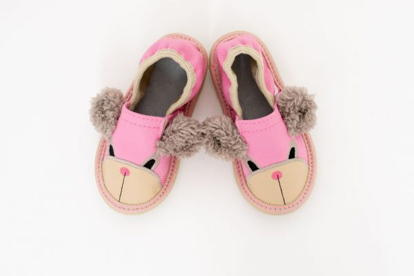 Kindergarten toddler slippers rolly pink teddy bears