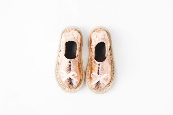 Kindergarten toddler slippers rolly rose gold girls