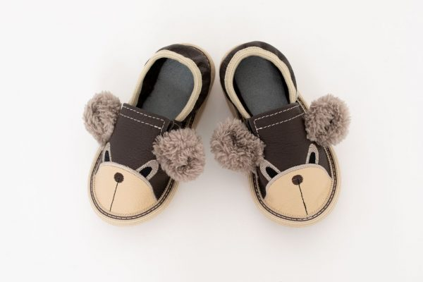 Kindergarten toddler slippers rolly teddy bears brown