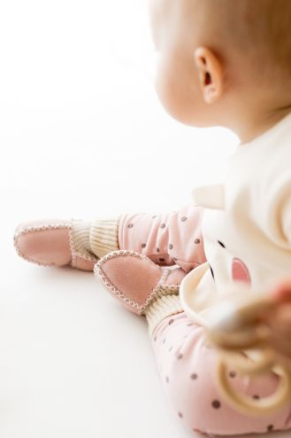 Rolly baby winter slippers pink