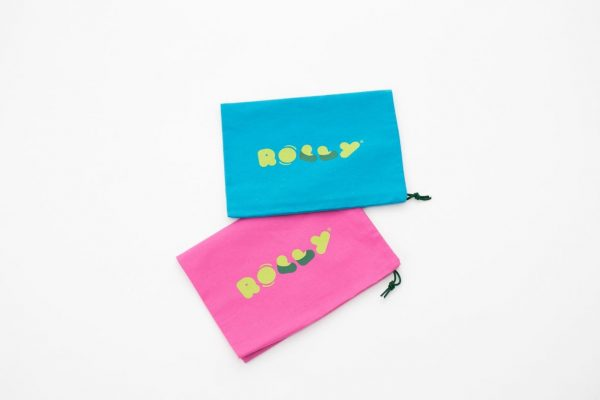 Rolly drawstring bag for slippers pink blue