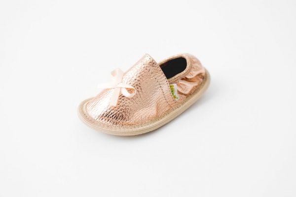 Rolly rose gold slippers for kindergarten toddler girls