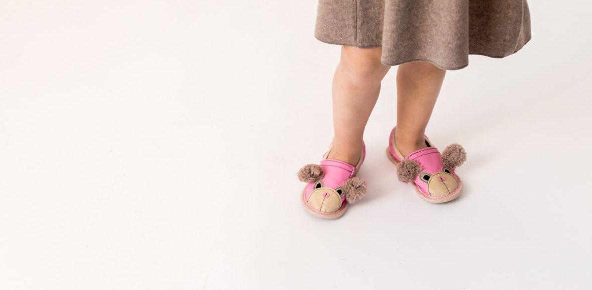 Rolly teddy bears slippers for kindergarten pink toddler
