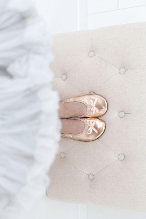 School slippers ballerina rose gold girls