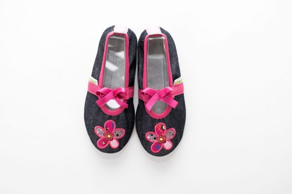 School slippers girls jeans flower pink