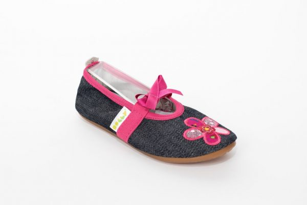School slippers girls pink jeans flower