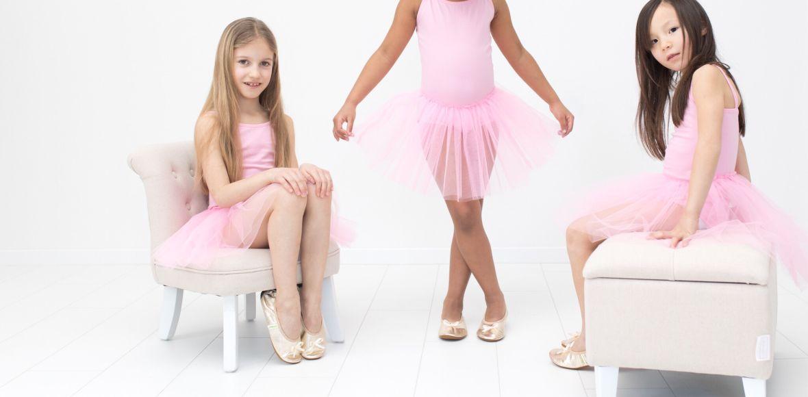 School slippers rolly ballerina gold girls