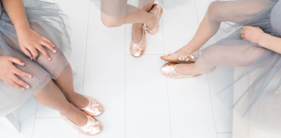School slippers rolly ballerina rose gold girls