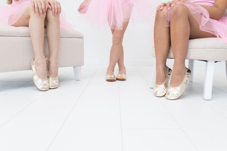 School slippers rolly gold ballerina girls