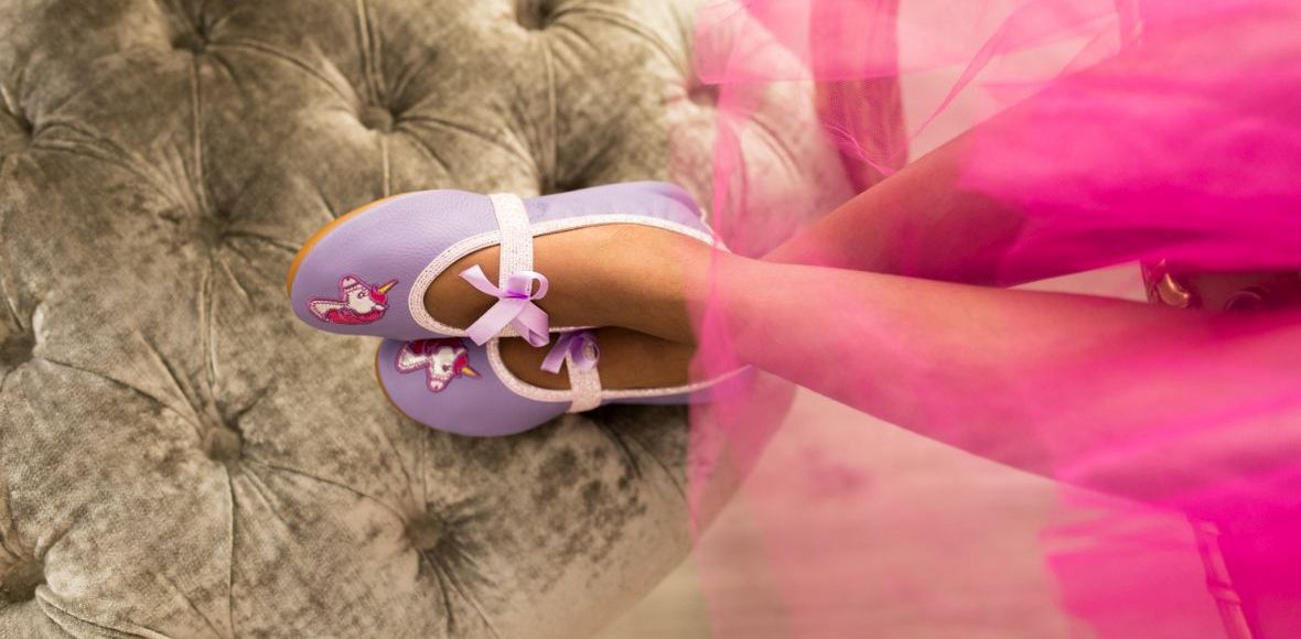 School slippers rolly pink unicorn girls