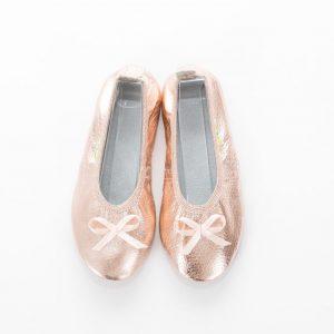 School slippers rose gold ballerina nonslip