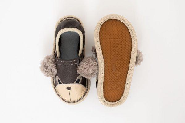 Kindergarten toddler slippers rolly brown teddy bears nonslip outsole