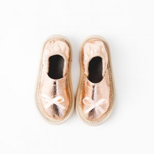 Kindergarten toddler slippers rolly rose gold girls