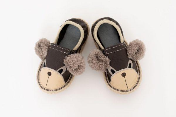Kindergarten toddler slippers rolly teddy bears brown