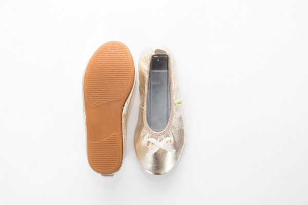 School slippers ballerina gold girls rolly nonslip sole