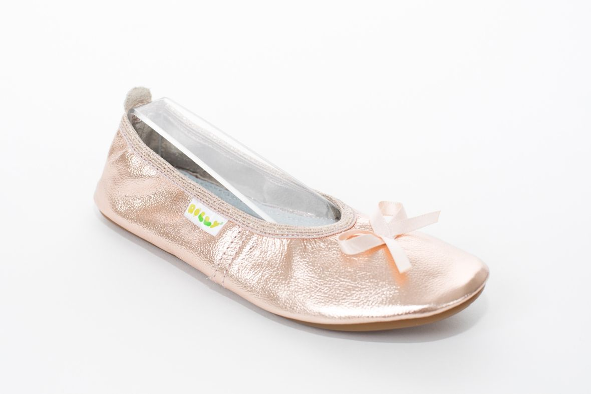 School slippers ballerina rose gold girls rolly