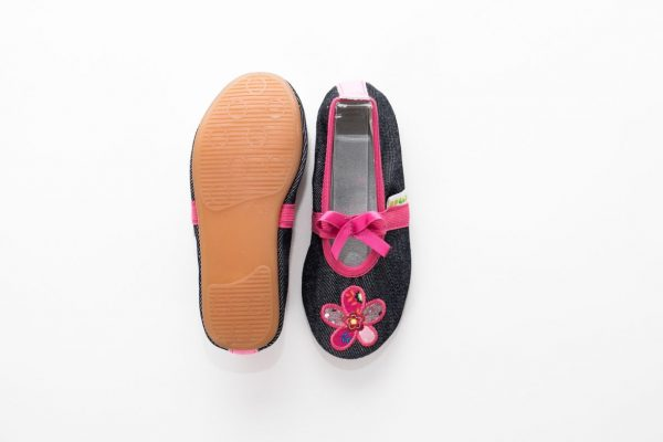 School slippers girls jeans flower nonslip sole
